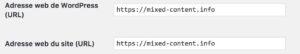 Vérifier l'url configurée dans le back-office wordpress